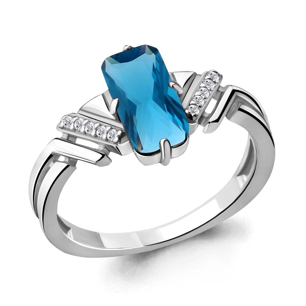 Серебряное кольцо с нано топазом лондон и фианитом AQUAMARINE (#705081)