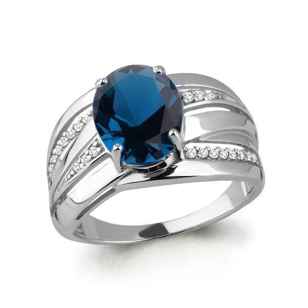 Серебряное кольцо с нано топазом лондон и топазом лондон AQUAMARINE (#687177)