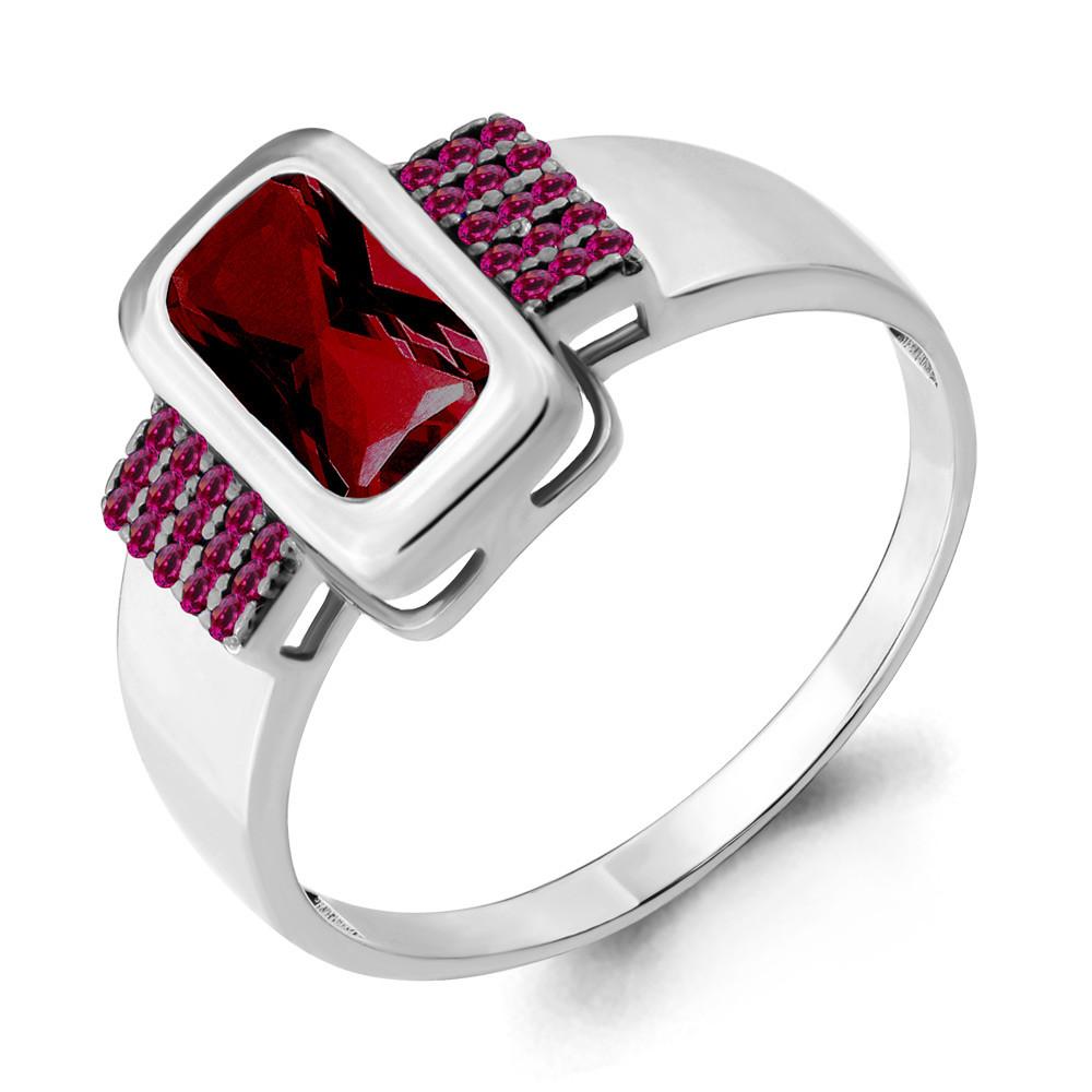 Серебряное кольцо с нано турмалином и нано гранатом AQUAMARINE (#715542)