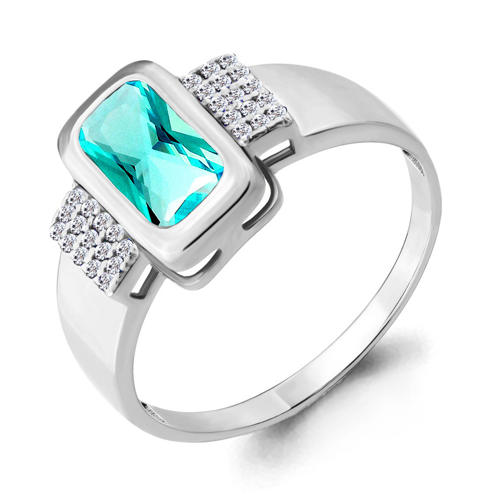 Серебряное кольцо с нано турмалином и фианитом AQUAMARINE (#664721)