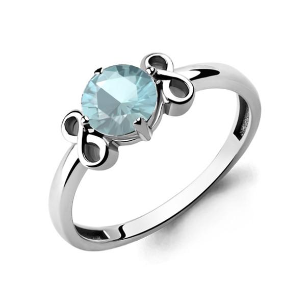 Серебряное кольцо с стеклом AQUAMARINE (#657284)