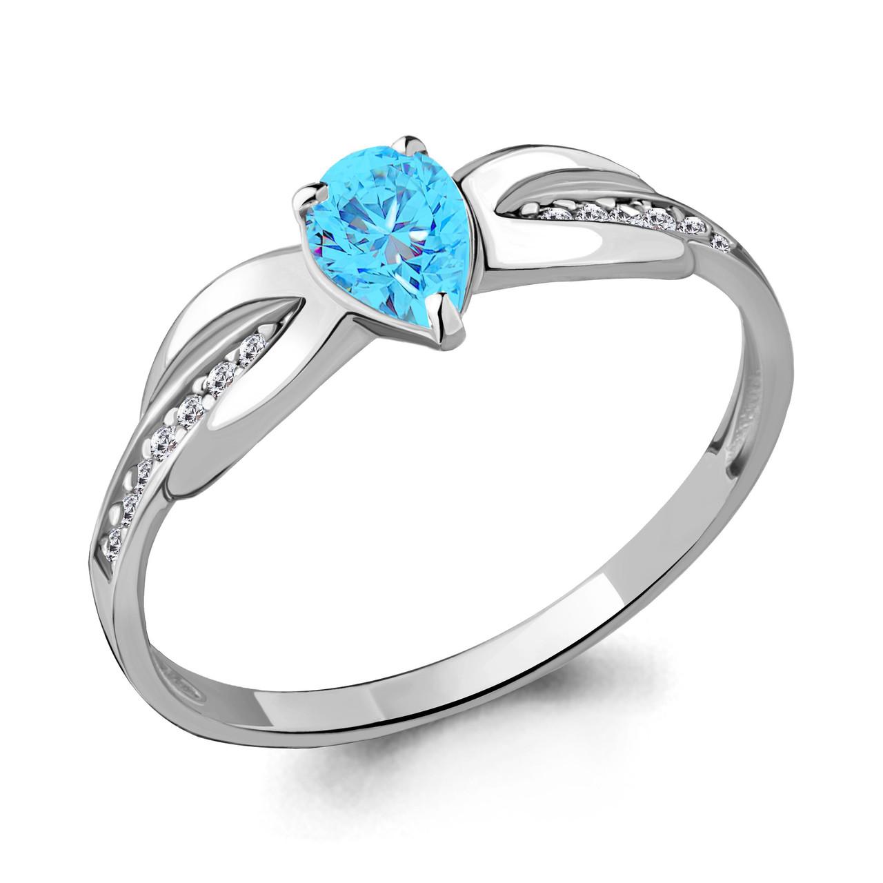 Серебряное кольцо с стеклом и фианитом AQUAMARINE (#712240)