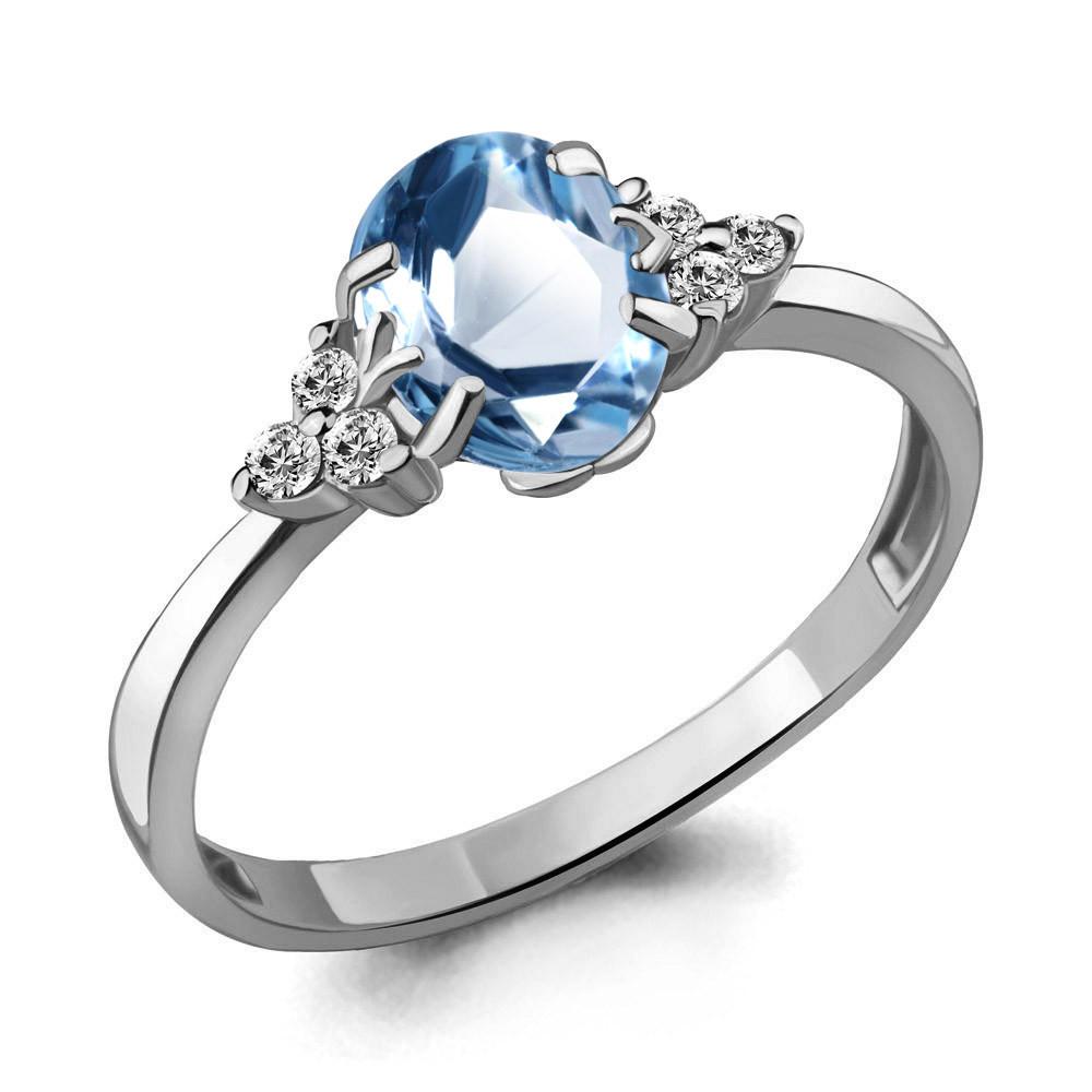 Серебряное кольцо с топазом и AQUAMARINE (#433249)