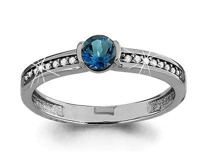 Серебряное кольцо с топазом и топазом лондон AQUAMARINE (#433231)