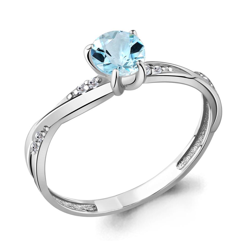 Серебряное кольцо с топазом и фианитом AQUAMARINE (#708948)