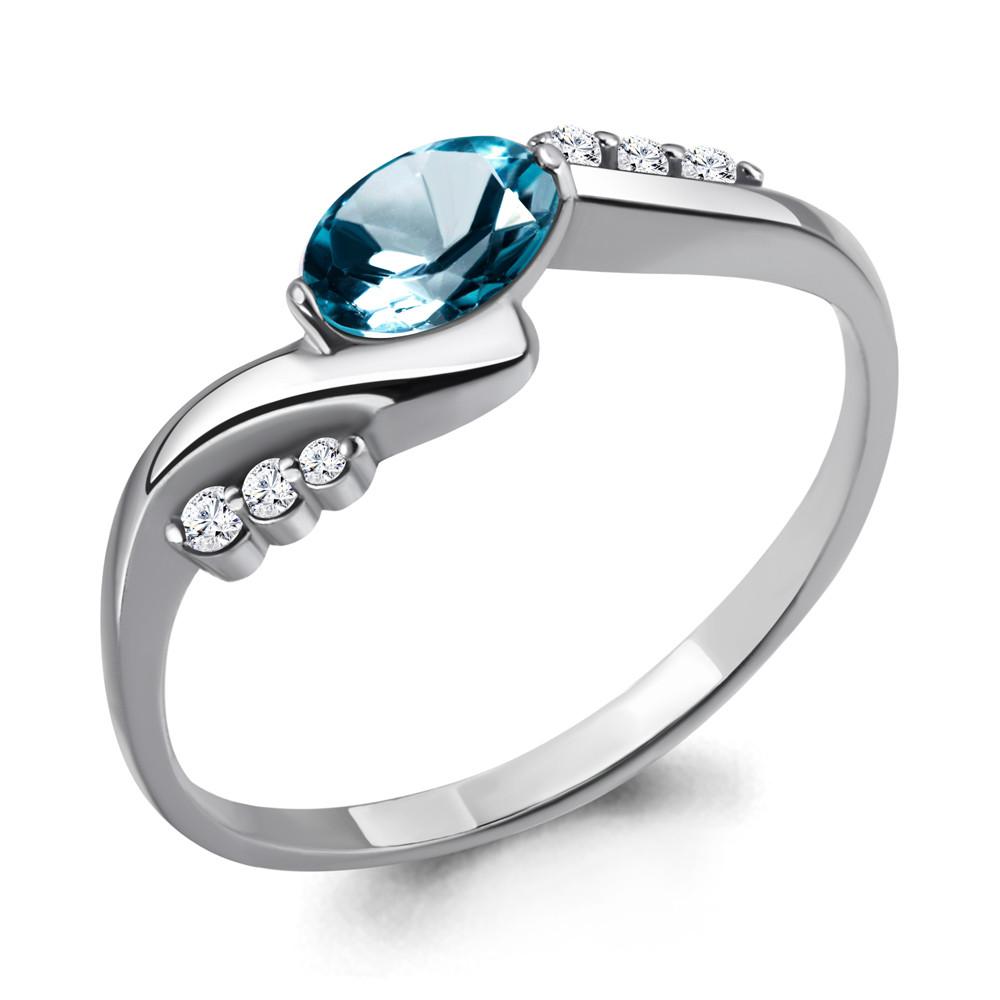 Серебряное кольцо с топазом лондон и фианитом AQUAMARINE (#708950)
