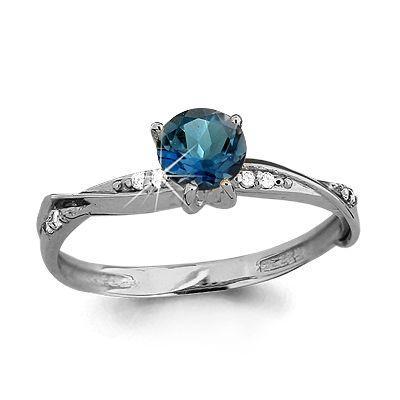 Серебряное кольцо с топазом лондон и фианитом AQUAMARINE (#687152)
