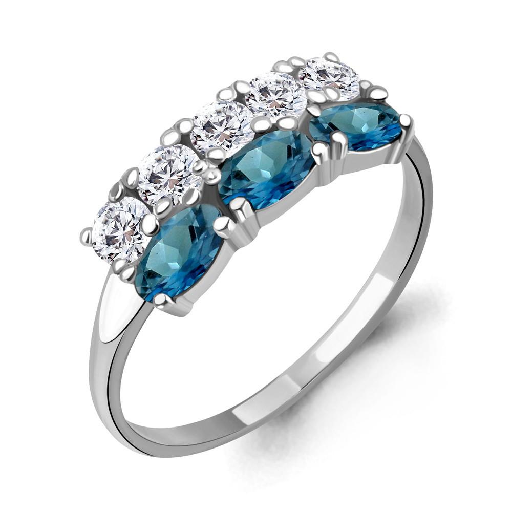 Серебряное кольцо с топазом лондон и фианитом AQUAMARINE (#706597)
