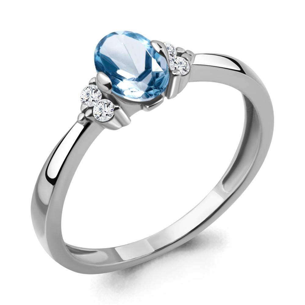 Серебряное кольцо с топазом свисс и топазом AQUAMARINE (#433250)