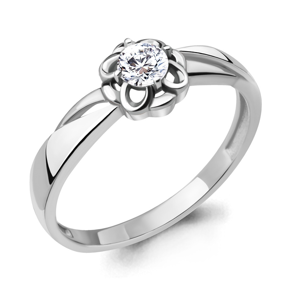 Серебряное кольцо с фианитом AQUAMARINE (#715221)