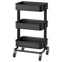 Тележка РОСКУГ черный ИКЕА, IKEA, фото 1