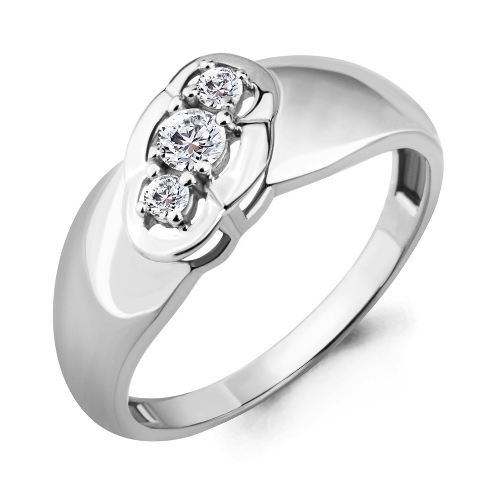 Серебряное кольцо с фианитом AQUAMARINE (#683171)