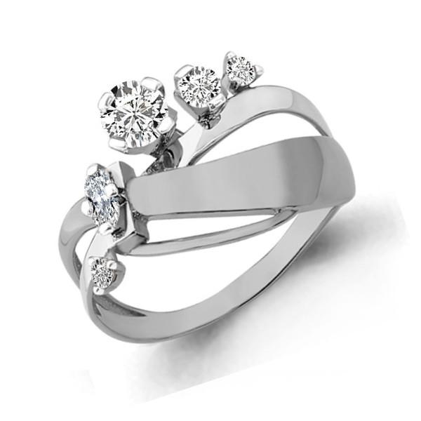 Серебряное кольцо с фианитом AQUAMARINE (#652888)
