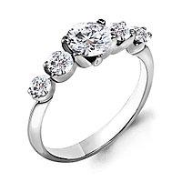 Серебряное кольцо с фианитом AQUAMARINE (#675974) 17,5