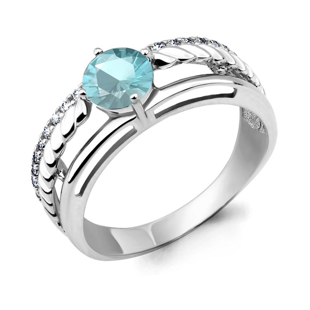 Серебряное кольцо с фианитом AQUAMARINE (#657286)