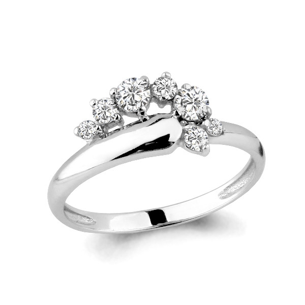 Серебряное кольцо с фианитом swarovski и фианитом AQUAMARINE (#631737)