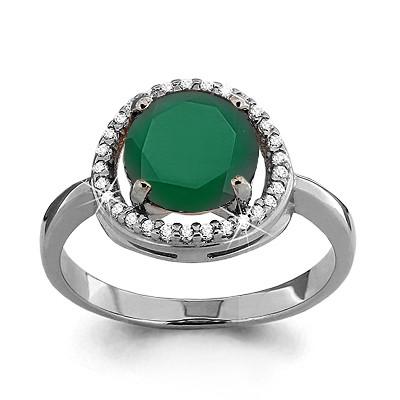 Серебряное кольцо с фианитом и агатом зелёным AQUAMARINE (#702804)