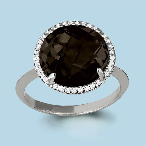 Серебряное кольцо с фианитом и кварцем AQUAMARINE (#655079)