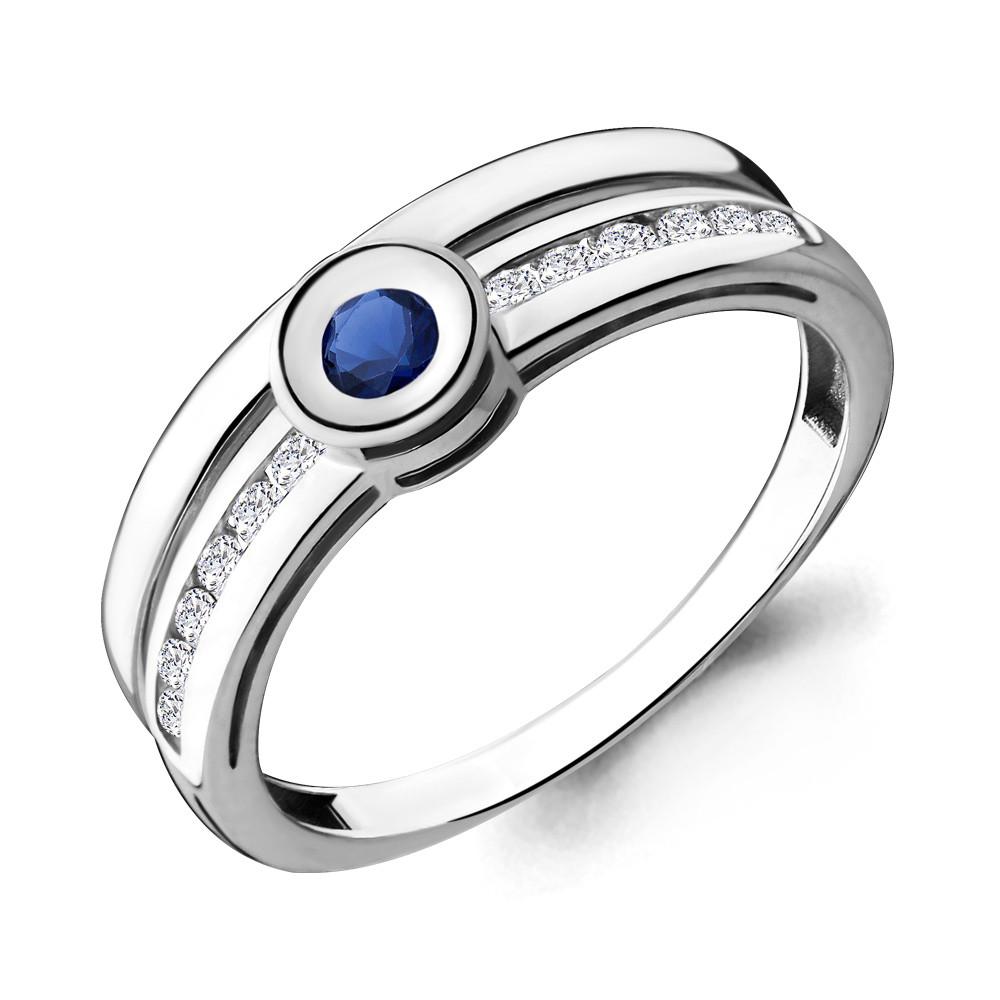 Серебряное кольцо с фианитом и нано сапфиром AQUAMARINE (#695253)