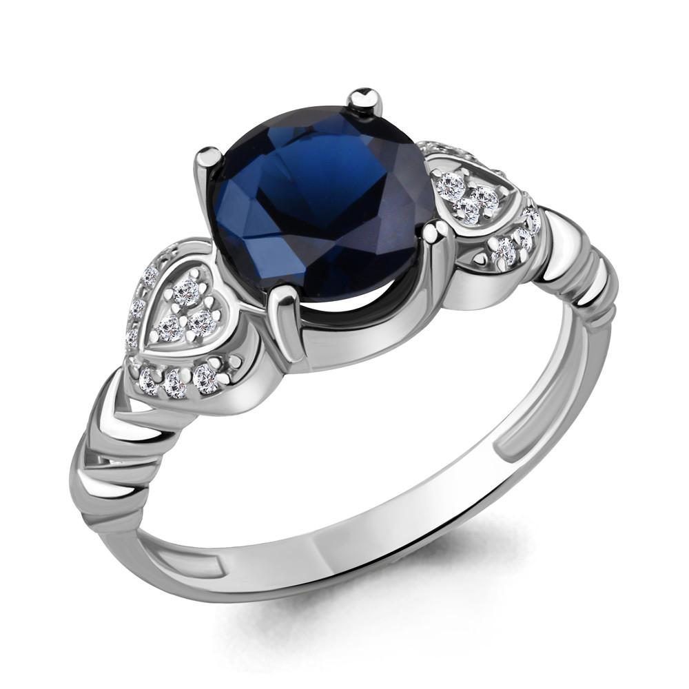 Серебряное кольцо с фианитом и нано сапфиром AQUAMARINE (#409857)