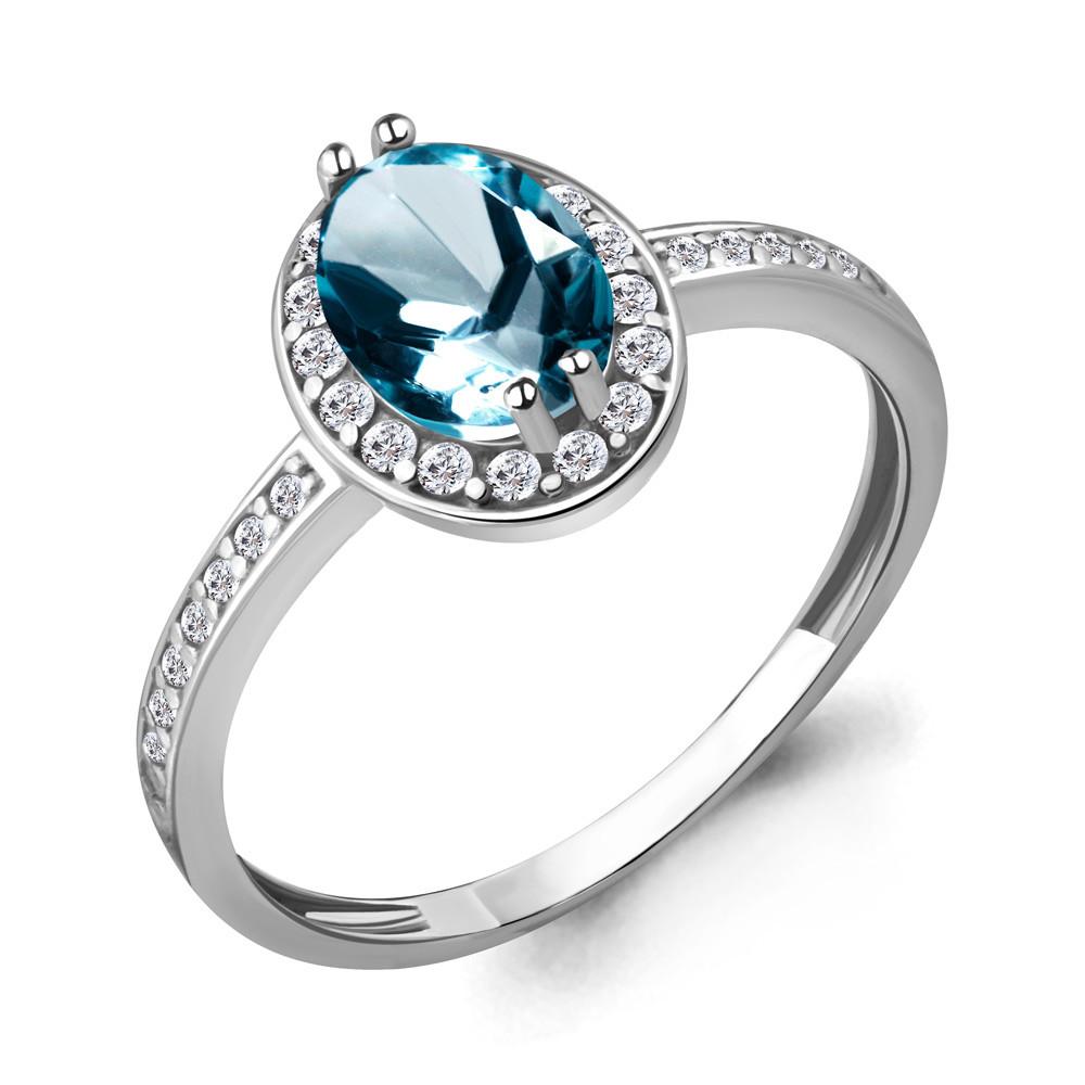 Серебряное кольцо с фианитом и топазом лондон AQUAMARINE (#687157)