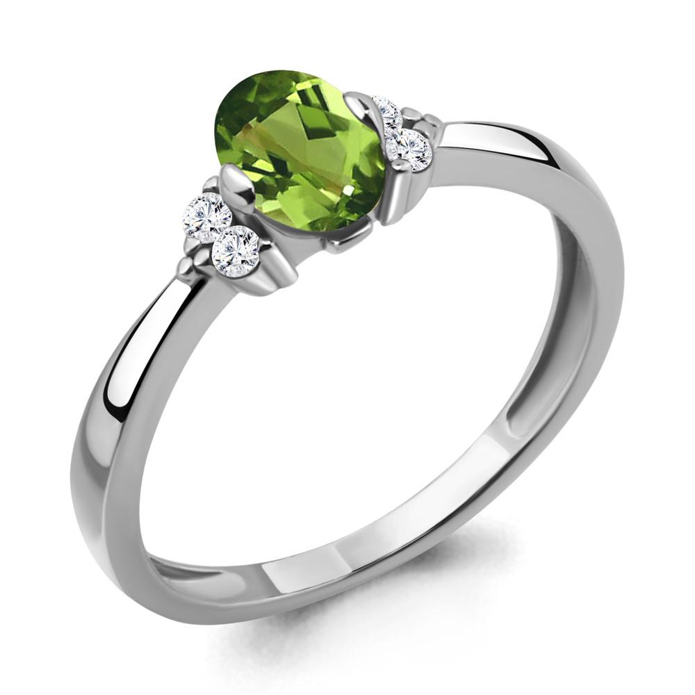 Серебряное кольцо с хризолитом и фианитом AQUAMARINE (#709065)