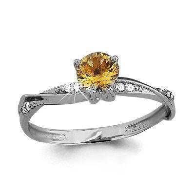 Серебряное кольцо с цитрином AQUAMARINE (#687151)