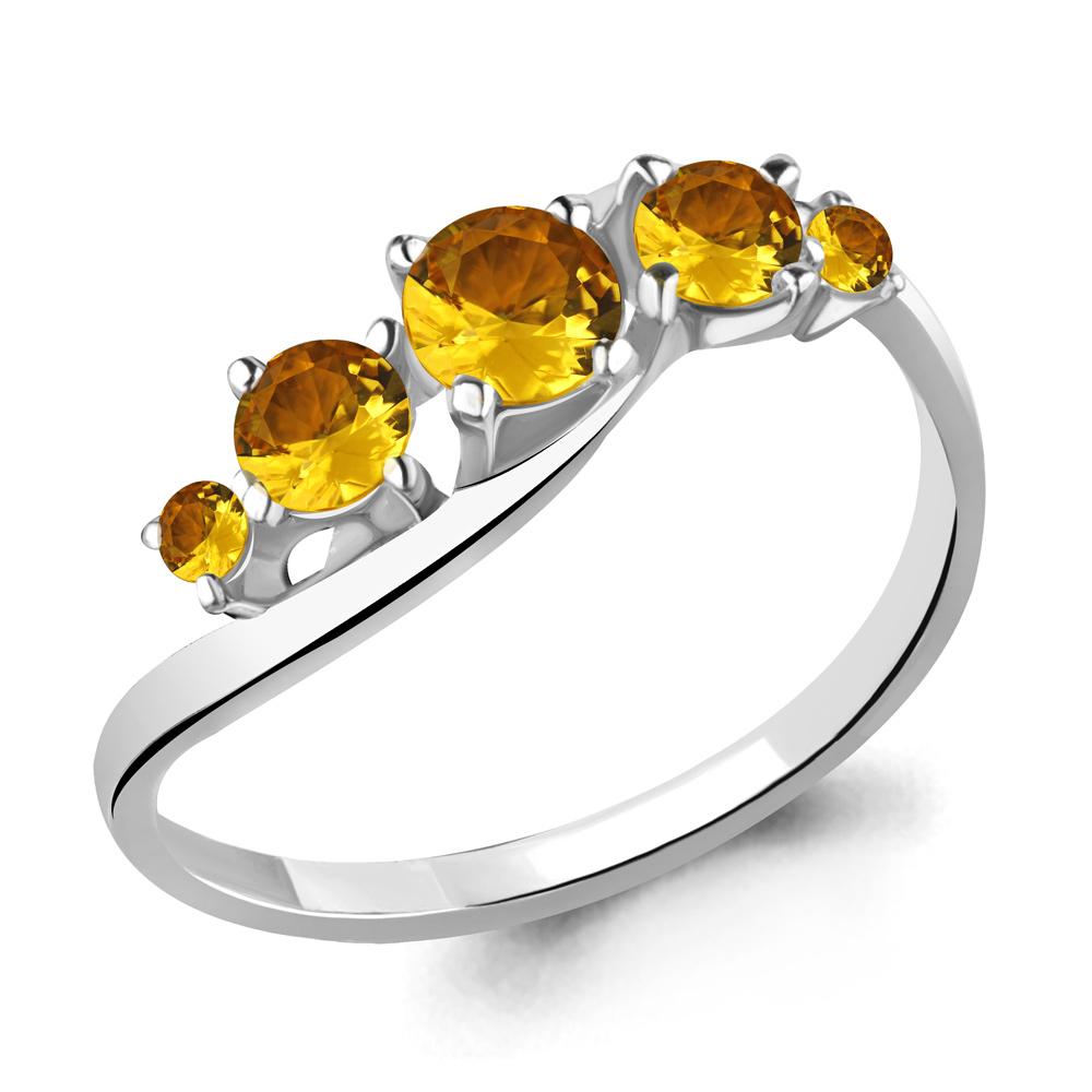 Серебряное кольцо с цитрином AQUAMARINE (#700165)