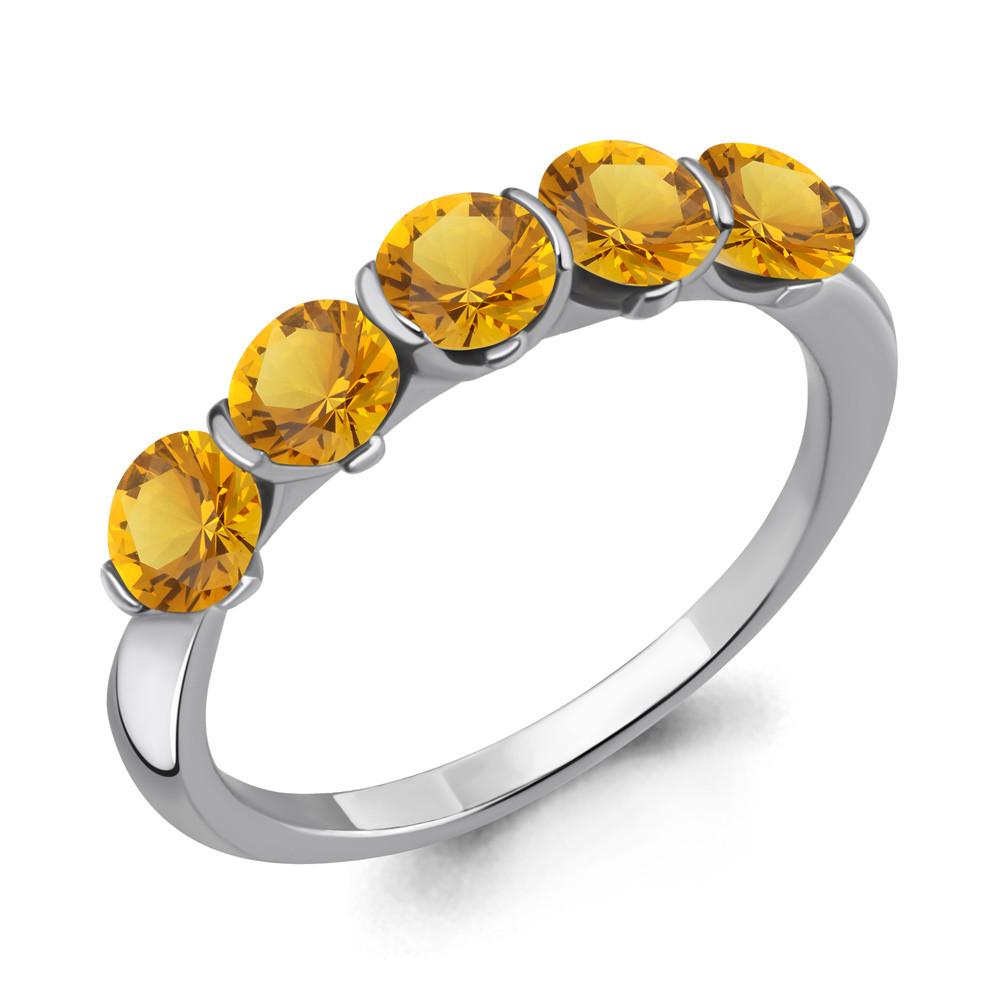 Серебряное кольцо с цитрином AQUAMARINE (#687260)