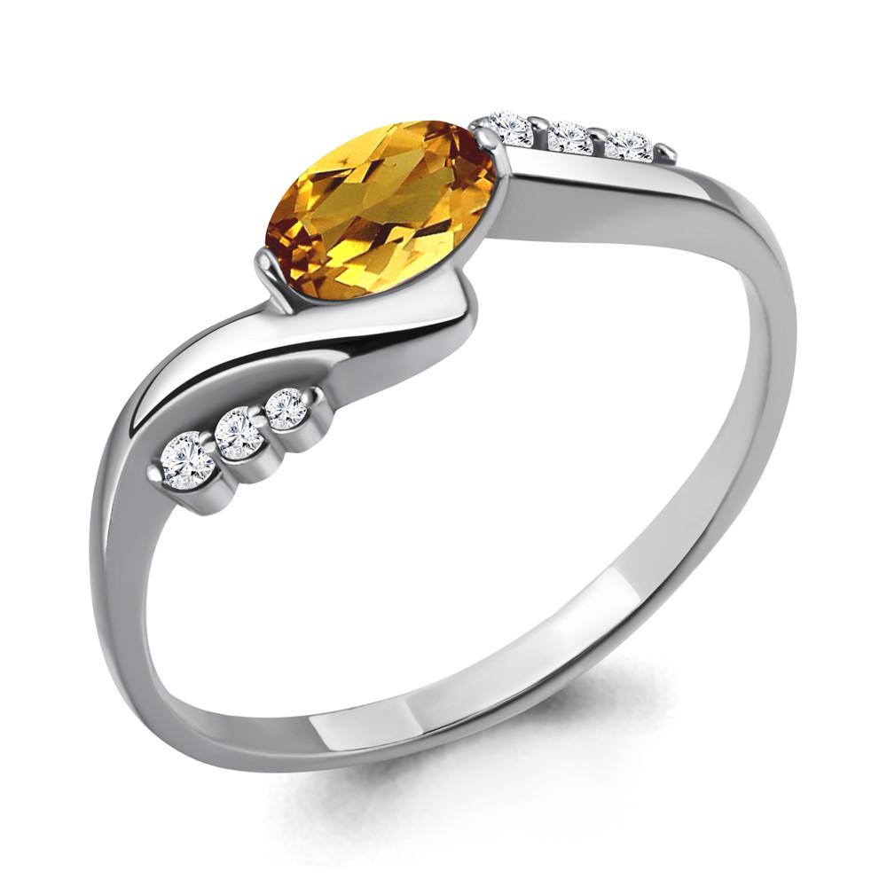 Серебряное кольцо с цитрином и фианитом AQUAMARINE (#698468)