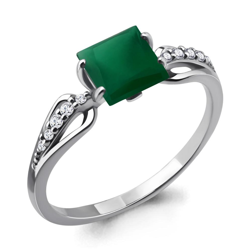 Серебряное кольцо с агатом зелёным AQUAMARINE (#687159)
