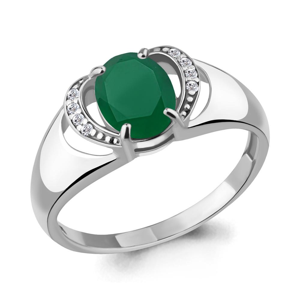 Серебряное кольцо с агатом зелёным AQUAMARINE (#706523)