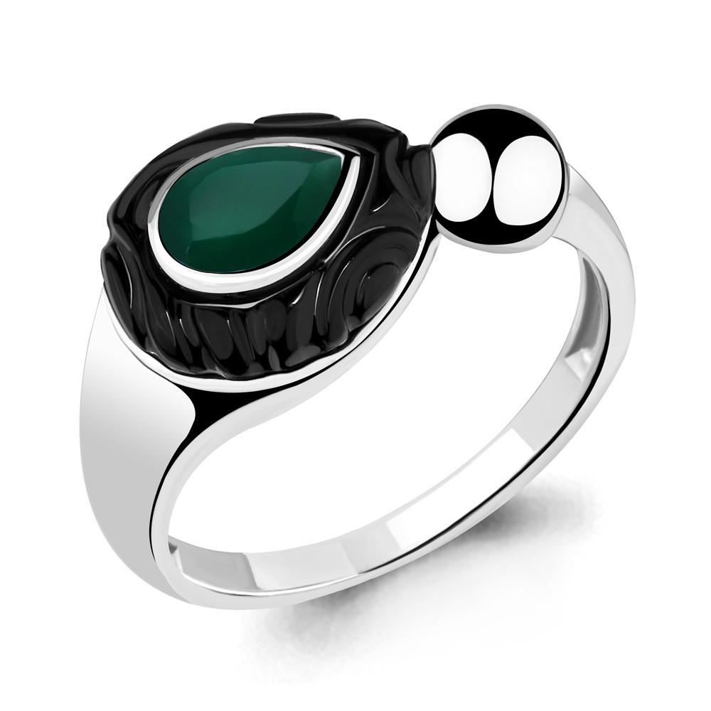 Серебряное кольцо с агатом зелёным AQUAMARINE (#709093)