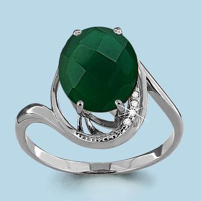 Серебряное кольцо с агатом зелёным AQUAMARINE (#708953)