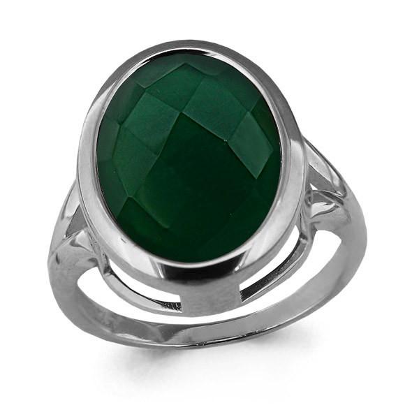 Серебряное кольцо с агатом зелёным AQUAMARINE (#709075)