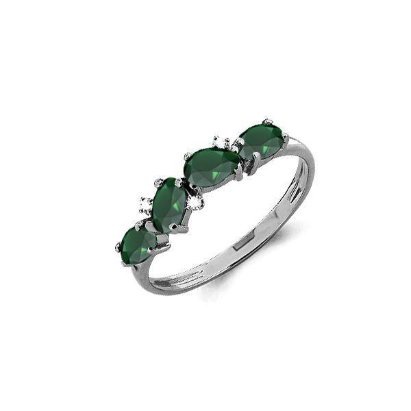 Серебряное кольцо с агатом зелёным и фианитом AQUAMARINE (#697857)