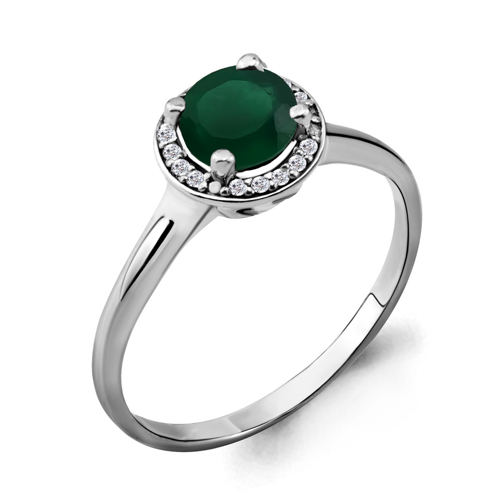Серебряное кольцо с агатом зелёным и фианитом AQUAMARINE (#690047)