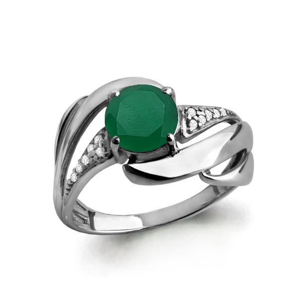 Серебряное кольцо с агатом зелёным и фианитом AQUAMARINE (#582410)
