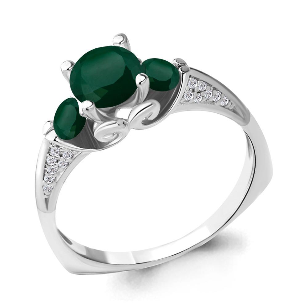 Серебряное кольцо с агатом зелёным и фианитом AQUAMARINE (#704792)