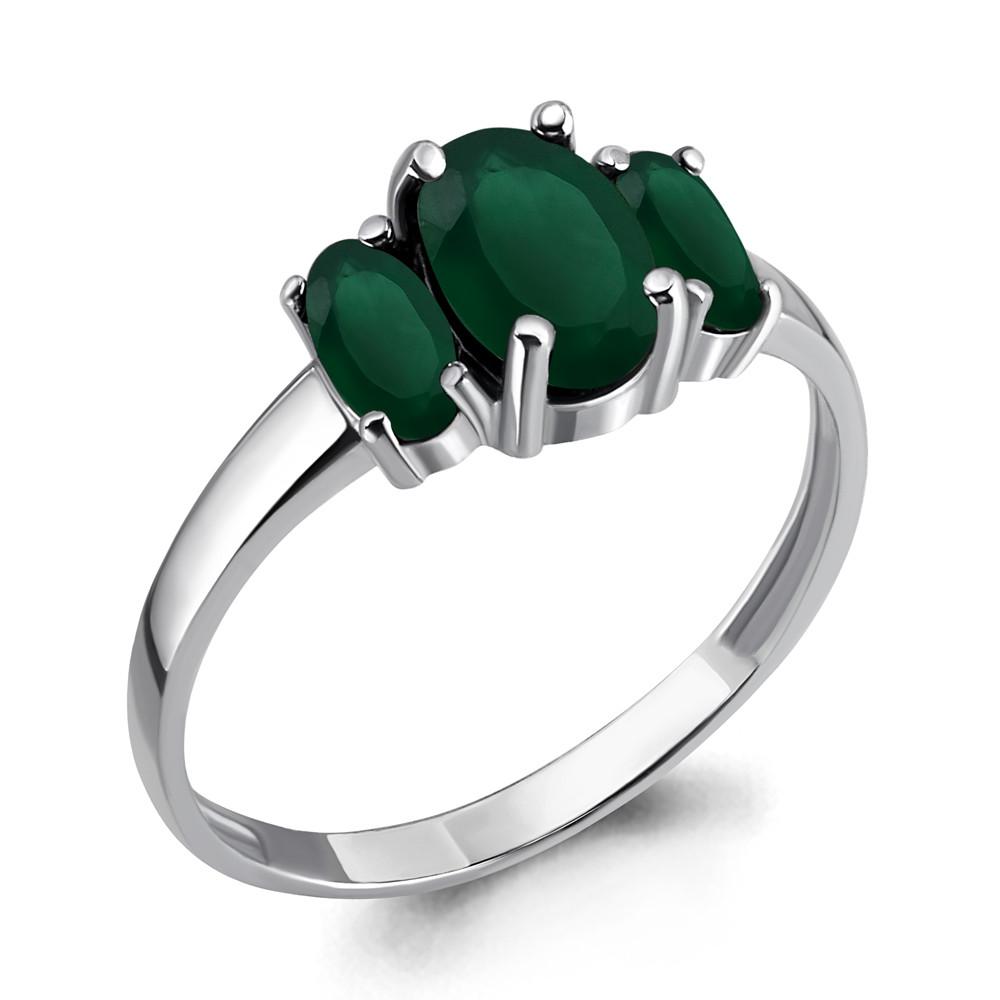 Серебряное кольцо с агатом зеленым AQUAMARINE (#647879)