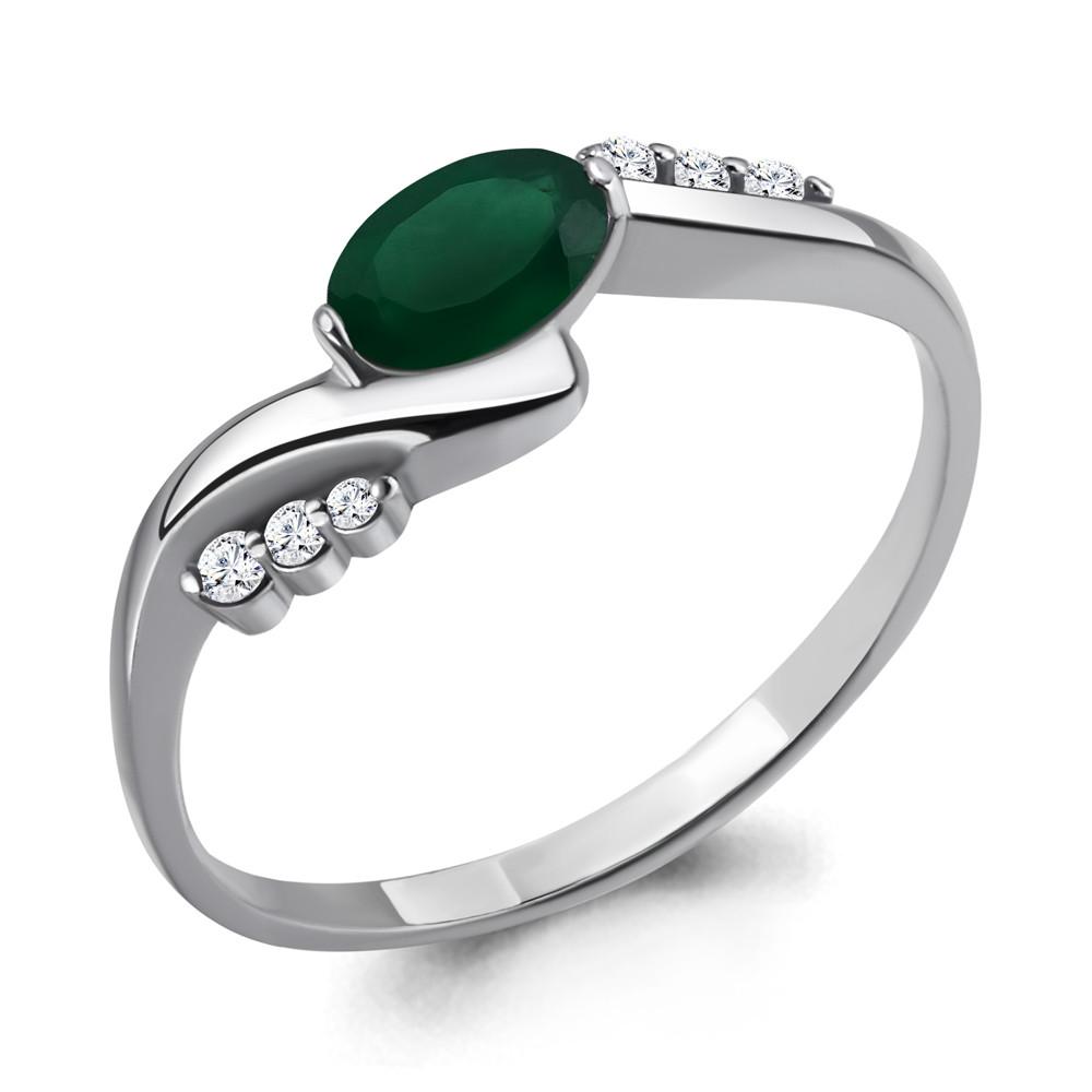 Серебряное кольцо с агатом зеленым и фианитом AQUAMARINE (#698482)