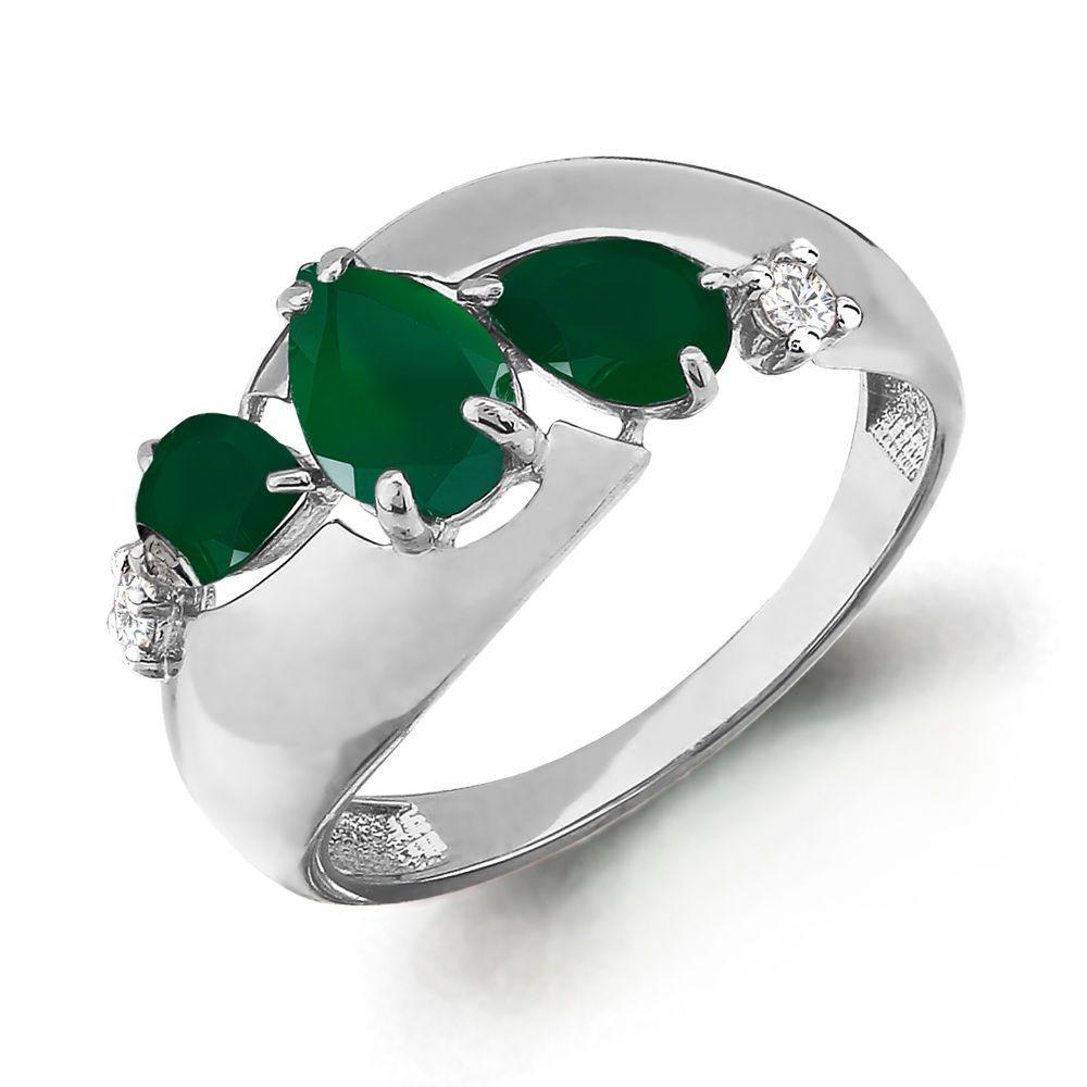 Серебряное кольцо с агатом зеленым и фианитом AQUAMARINE (#697864)