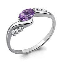 Серебряное кольцо с аметистом и фианитом AQUAMARINE (#709067)
