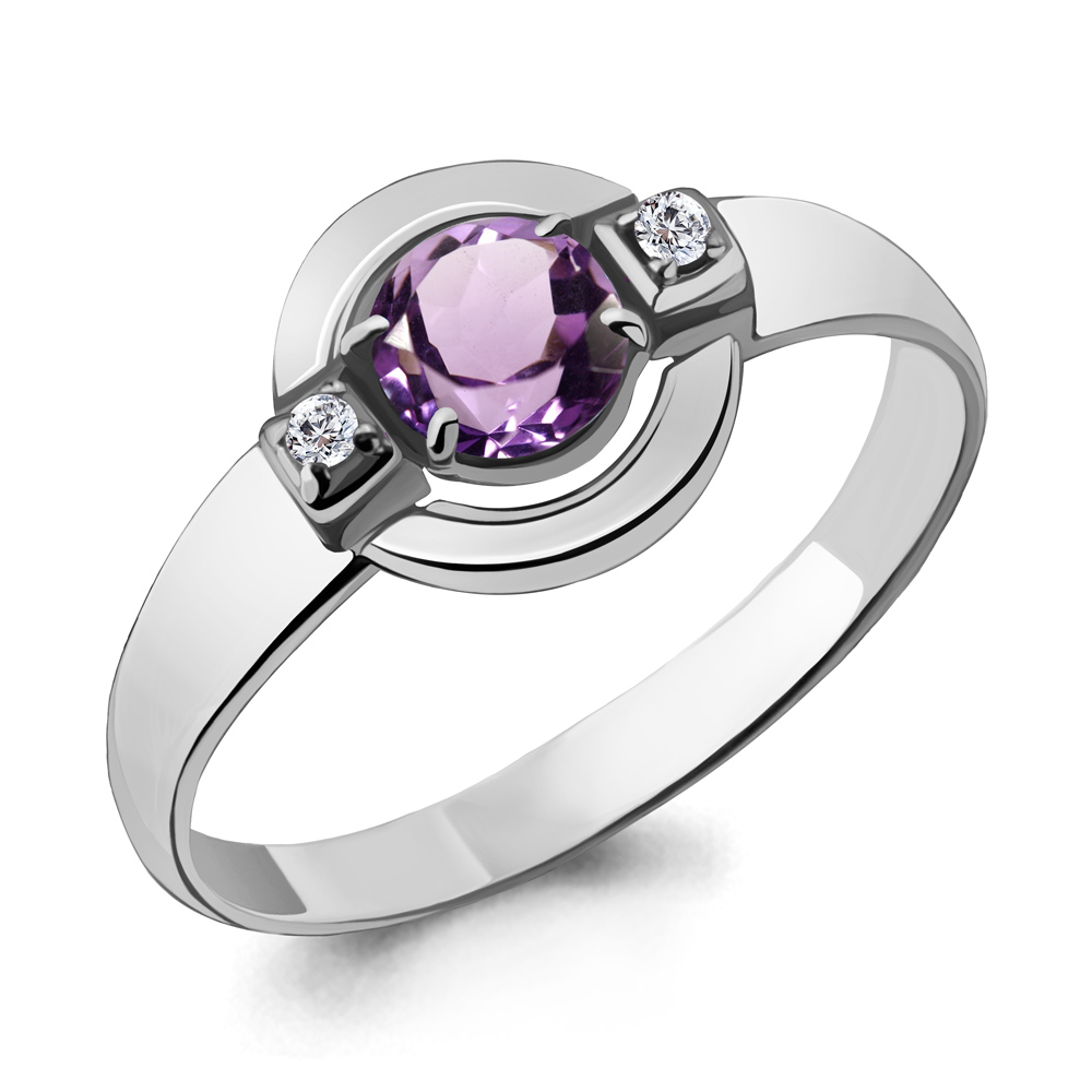 Серебряное кольцо с аметистом и фианитом AQUAMARINE (#700154)