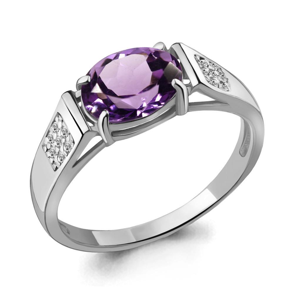 Серебряное кольцо с аметистом и фианитом AQUAMARINE (#703606)