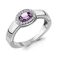 Серебряное кольцо с аметистом и фианитом AQUAMARINE (#709088)