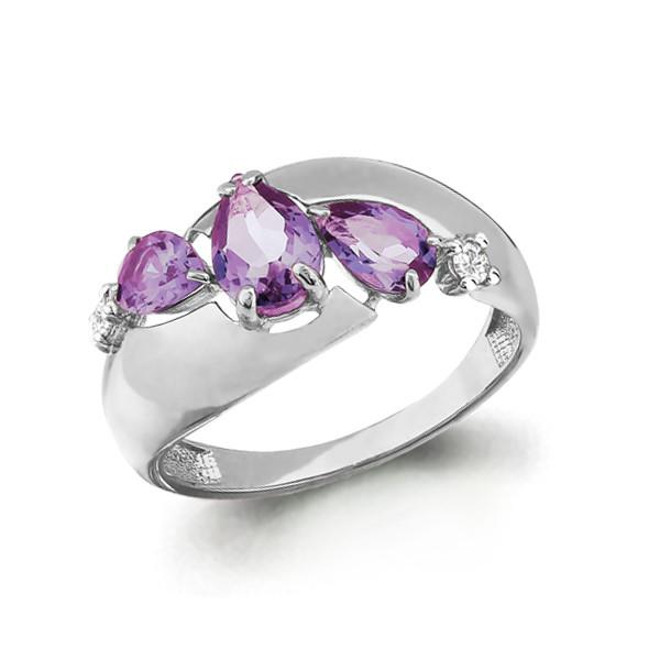 Серебряное кольцо с аметистом и фианитом AQUAMARINE (#647887)