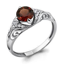 Серебряное кольцо с гранатом AQUAMARINE (#486132)