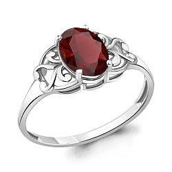 Серебряное кольцо с гранатом AQUAMARINE (#635845)