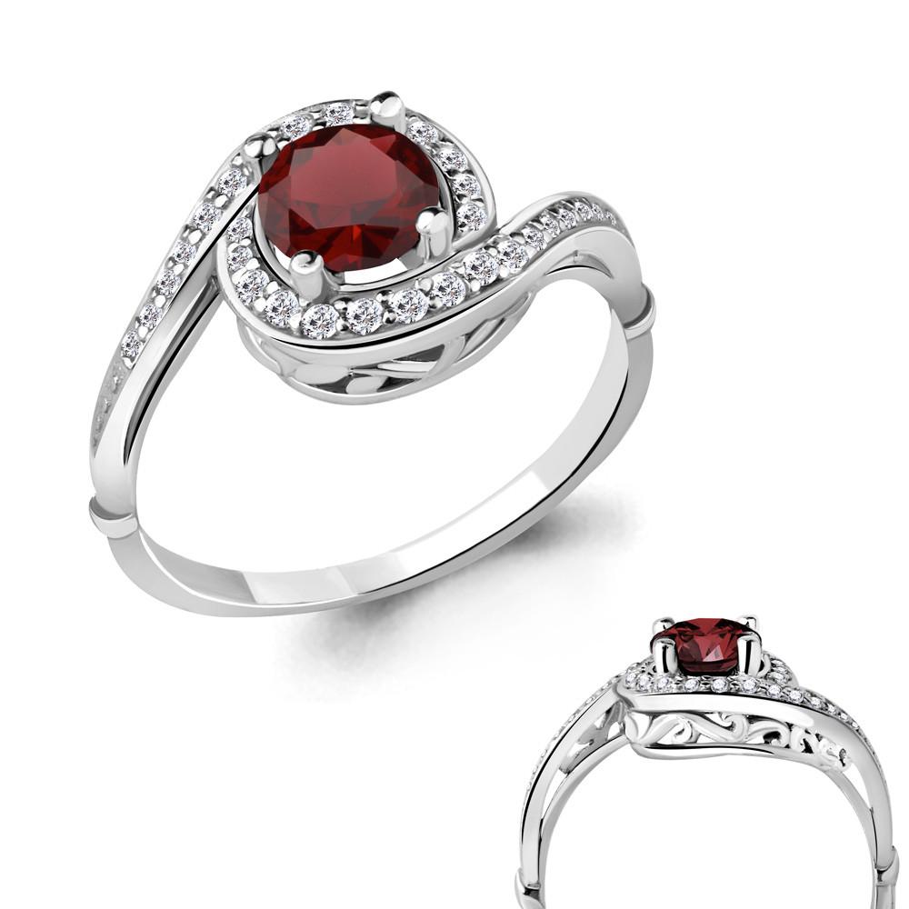 Серебряное кольцо с гранатом AQUAMARINE (#698464)